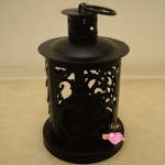 Metal Cylinder Candle Lantern-Black