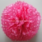 "12"" White Dot with FuchsiaTissue Paper Pom Poms -(4 pieces)"